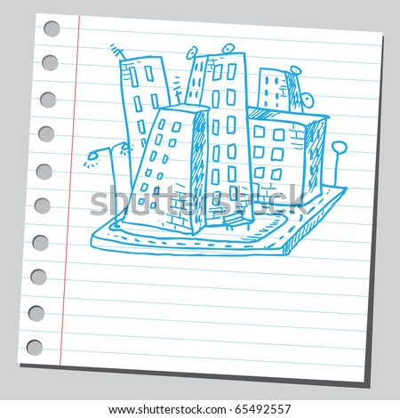 Scribble style illustration of a city