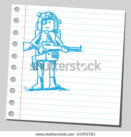 Scribble style illustration of a soldier
