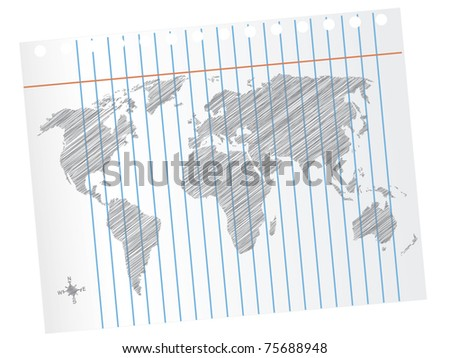 Scribble World Map on Notebook Paper