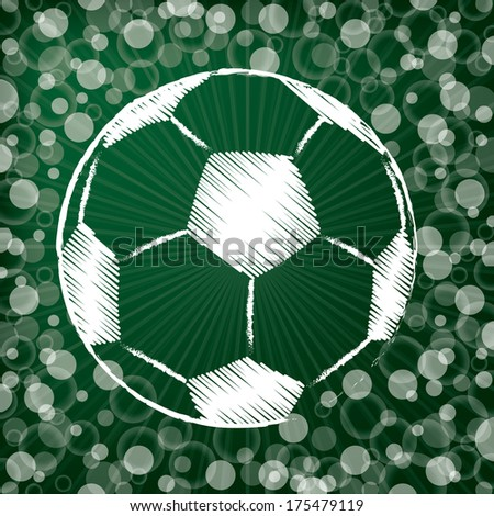 Scribbled soccer ball on abstract dotted green background #175479119