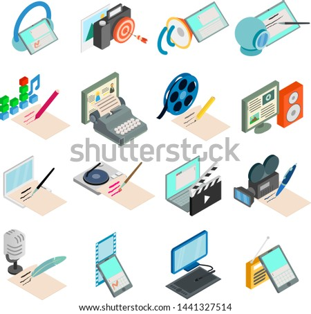 Script writer icons set. Isometric set of 16 script writer vector icons for web isolated on white background