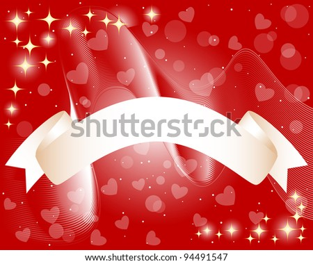 Scroll Banner on a background with waves, hearts and stars . EPS 10. Vector illustration.