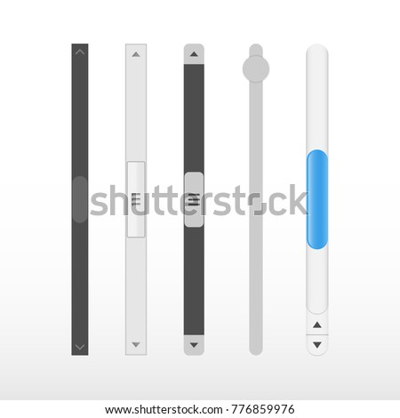 Scroll bars. Vector web ui scroll elements.