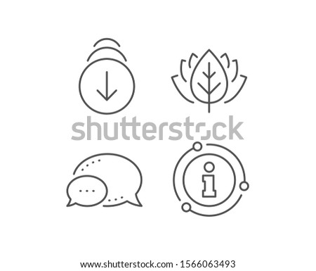Scroll down arrow line icon. Chat bubble, info sign elements. Scrolling screen sign. Swipe page. Linear scroll down outline icon. Information bubble. Vector