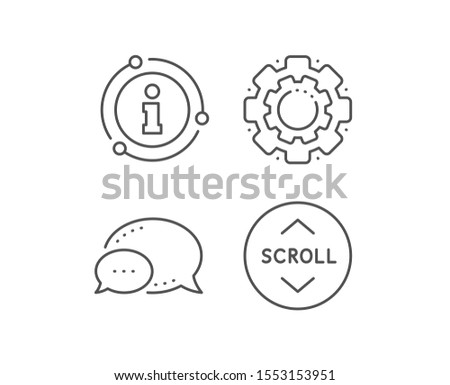 Scroll down button line icon. Chat bubble, info sign elements. Scrolling screen sign. Swipe page. Linear scroll down outline icon. Information bubble. Vector