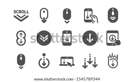Scroll down icons. Scrolling mouse, landing page swipe signs. Mobile device technology icons. Website scroll navigation. Phone scrolling. Classic set. Quality set. Vector