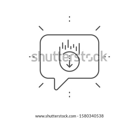 Scroll down line icon. Chat bubble design. Scrolling screen sign. Swipe page. Outline concept. Thin line scroll down icon. Vector