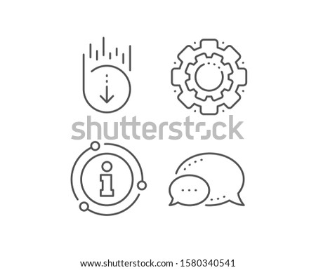 Scroll down line icon. Chat bubble, info sign elements. Scrolling screen sign. Swipe page. Linear scroll down outline icon. Information bubble. Vector