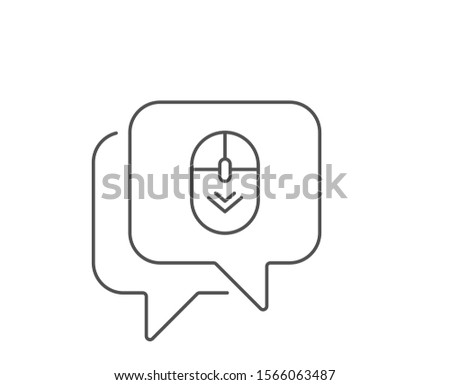 Scroll down mouse line icon. Chat bubble design. Scrolling screen sign. Swipe page. Outline concept. Thin line scroll down icon. Vector