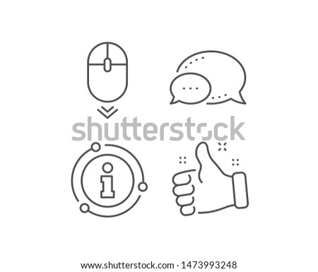 Scroll down mouse line icon. Chat bubble, info sign elements. Scrolling screen sign. Swipe page. Linear scroll down outline icon. Information bubble. Vector