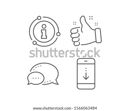 Scroll down phone line icon. Chat bubble, info sign elements. Scrolling screen sign. Swipe page. Linear scroll down outline icon. Information bubble. Vector