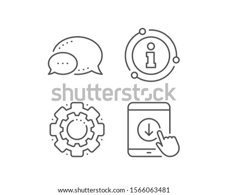 Scroll down tablet pc line icon. Chat bubble, info sign elements. Scrolling screen sign. Swipe page. Linear scroll down outline icon. Information bubble. Vector
