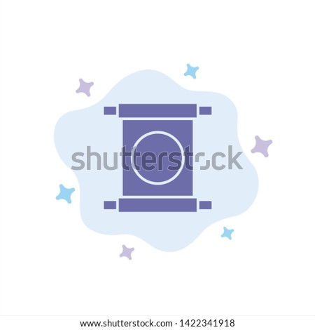 Scroll, Letter, China, Chinese Blue Icon on Abstract Cloud Background