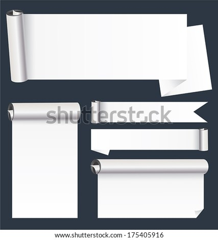 Scroll paper banners background in white texture.