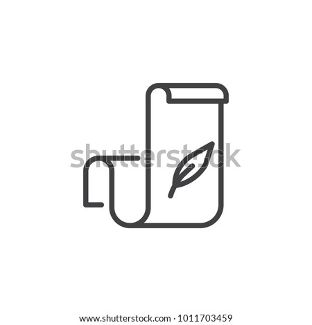 Scroll paper with feather pen line icon, outline vector sign, linear style pictogram isolated on white. Calligraphy symbol, logo illustration. Editable stroke