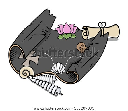 Scroll Parchment Map of Sea Treasure - Vector Cartoon Illustration