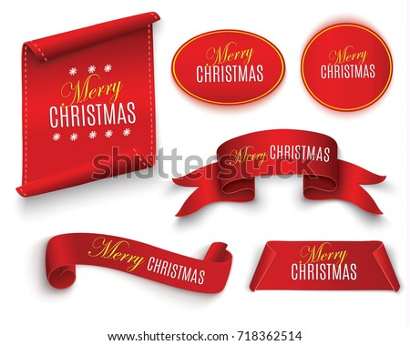 Scroll Red, Merry Christmas, realistic, paper banners. Vector illustration.