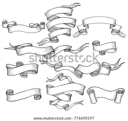 Scroll sketch. Vintage hand drawn banner and sketched swirl ribbons vector illustration