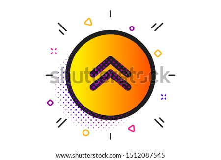 Scrolling arrow sign. Halftone circles pattern. Swipe up button icon. Landing page scroll symbol. Classic flat swipe up icon. Vector
