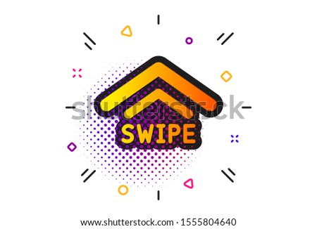 Scrolling arrow sign. Halftone circles pattern. Swipe up icon. Landing page scroll symbol. Classic flat swipe up icon. Vector