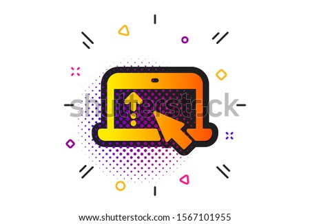 Scrolling arrow sign. Halftone circles pattern. Swipe up laptop icon. Landing page scroll symbol. Classic flat swipe up icon. Vector