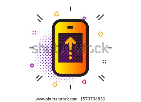 Scrolling arrow sign. Halftone circles pattern. Swipe up phone icon. Landing page scroll symbol. Classic flat swipe up icon. Vector