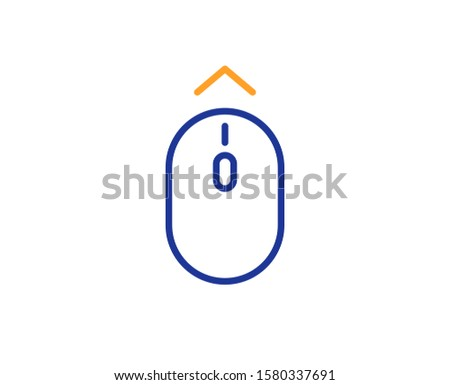 Scrolling arrow sign. Swipe up mouse line icon. Landing page scroll symbol. Colorful outline concept. Blue and orange thin line swipe up icon. Vector