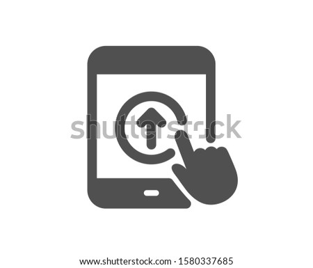 Scrolling arrow sign. Swipe up tablet pc icon. Landing page scroll symbol. Classic flat style. Simple swipe up icon. Vector