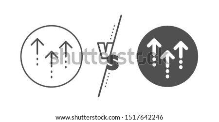 Scrolling arrow sign. Versus concept. Swipe up line icon. Landing page scroll symbol. Line vs classic swipe up icon. Vector