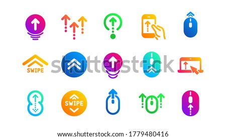 Scrolling mouse, landing page swipe signs. Swipe up icons. Scroll up mobile device technology icons. Website scroll navigation. Classic set. Gradient patterns. Quality signs set. Vector