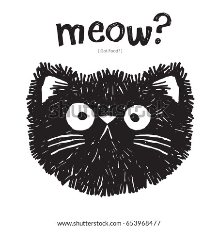 scruffy cat says meow  vector
