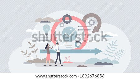 Scrum agile framework plan as software development method tiny person concept. Effective teamwork for project sprint vector illustration. Adaptive programming rule cycle and process managing strategy. Foto stock ©
