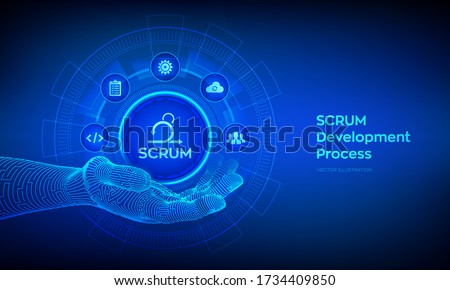 SCRUM icon in robotic hand. Agile development methodology process. Iterative sprint methodology. Programming and application design technology concept. Vector illustration. Foto d'archivio ©