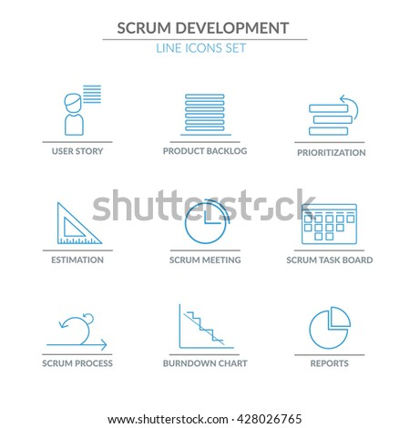 Scrum Software Development outline web icon set for agile, scrum, kanban IT teams