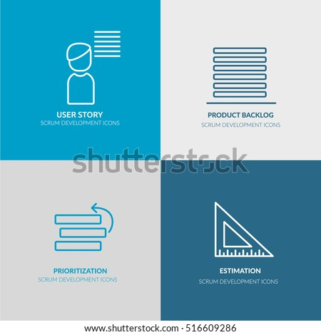 Scrum Software Development outline web icon set for agile, scrum, kanban IT teams for website, banners, flyers. Contains such icons as user story, product backlog, prioritization, estimation