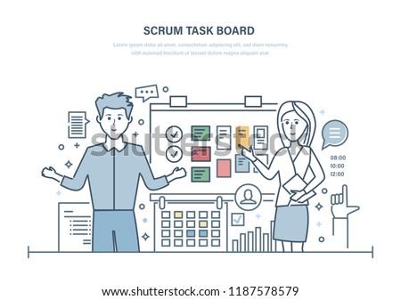 Scrum task and planning board. Development planning tasks, monitoring time and deadlines, working together, project management. Scrum methodology task board. Illustration thin line design.