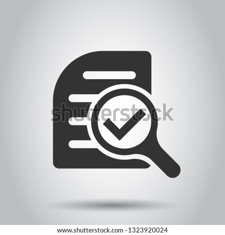 Scrutiny document plan icon in flat style. Review statement vector illustration on white background. Document with magnifier loupe business concept.