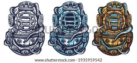 Scuba diver helmet and octopus tentacles. Old school tattoo vector art. Hand drawn cartoon character set. Isolated on white. Traditional tattooing style. Underwater sea diving and monster kraken