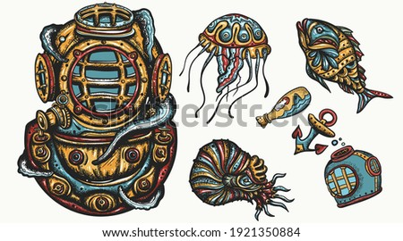 Scuba diver helmet, jellyfish. Underwater sea life. Traditional tattooing style. Deep water diving elements. Old school tattoo vector art. Hand drawn cartoon character set. Isolated on white