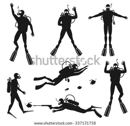 scuba diver silhouettes diving