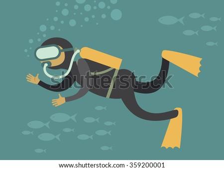 Stock Vector Scuba Diver Under Water Cartoon Vector Character