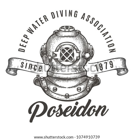 Scuba diving Club label. Diving helmet and ribbon. Vector illustration.