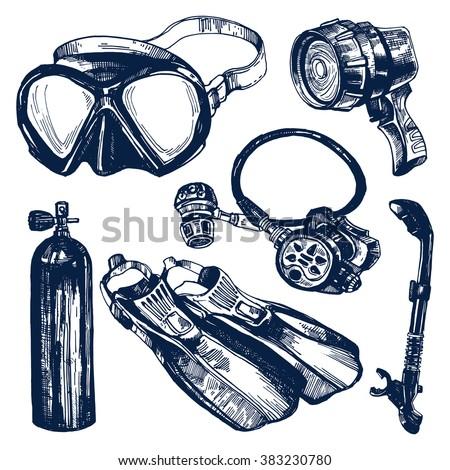 scuba diving equipment sketch...