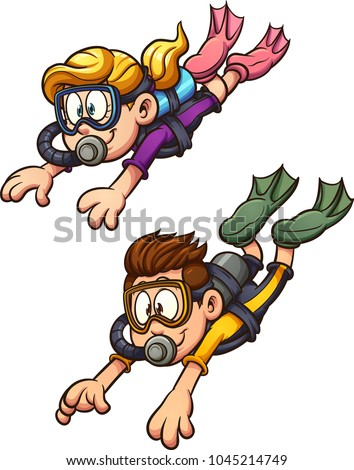 Scuba diving kids. Vector clip art illustration with simple gradients. Each on a separate layer.