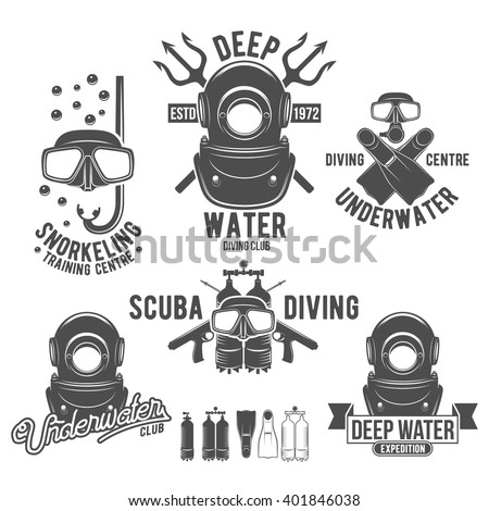 scuba diving labels set