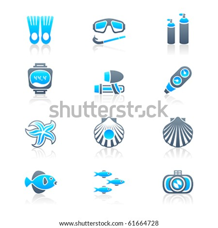 Scuba diving objects and underwater life icon-set