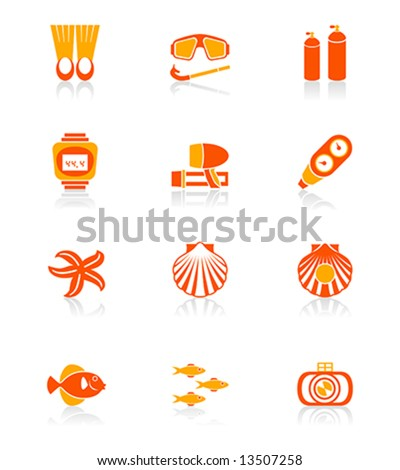 Scuba diving objects and underwater life vector icon set in orange.