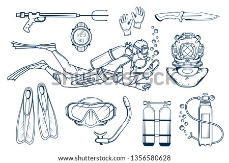 Scuba diving set. Diving equipment. Diver with scuba . Scuba-diving. Vector diver character. Diver helmet. Graphics to design