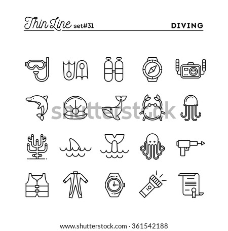 Scuba diving, underwater animals, equipment, certificate and more, thin line icons set, vector illustration