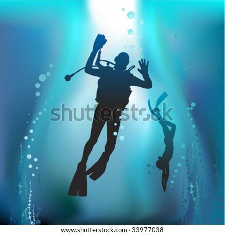 scuba diving vector